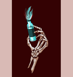 halloween skeleton hand holding a magic poison vector image