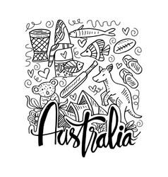 hand drawn symbols of australia vector image