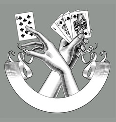 Hands with playing cards and ribbon banner vector