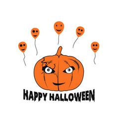 Happy halloween pumpkin balloons vector