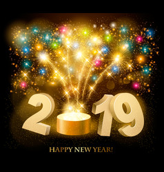 happy new year background with 2019 and fireworks vector image