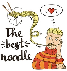 Hipster noodle doodles backgroundhand drawing vector