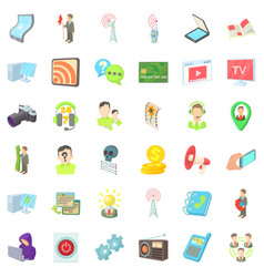 Holding icons set cartoon style vector
