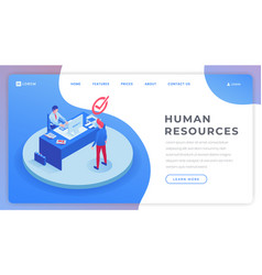 human resources landing page isometric template vector image