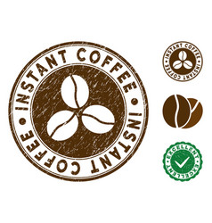 Instant coffee stamp with scratched texture vector