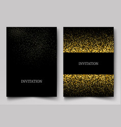 invitation template with gold glitter confetti vector image