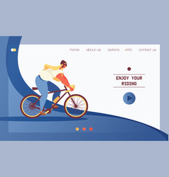 landing page for bicycle shop or cycling movement vector image