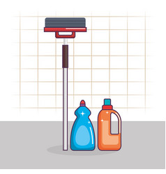 laundry service set bottles products vector image