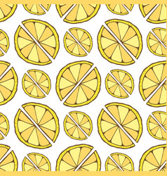 lemon seamless pattern hand drawn background for vector image vector image