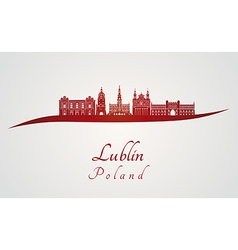 lublin skyline in red vector image