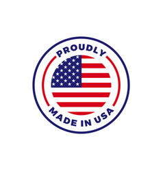 Made in usa american flag round icon vector