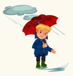 Man walking rain with umbrella hands raindrops vector