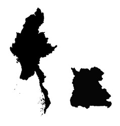 Map myanmar and naypyidaw country and capital vector