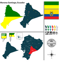 Map of morona santiago ecuador vector