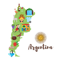 Map with argentinian national cultural symbols vector
