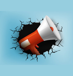 Megaphone from a hole with cracks in the wall vector