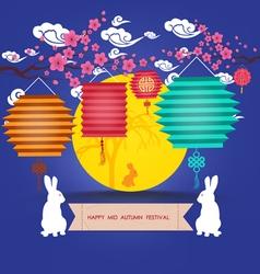 Mid Autumn Lantern Festival Full moon and rabbit vector