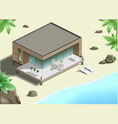 Modern bungalow on coast vector