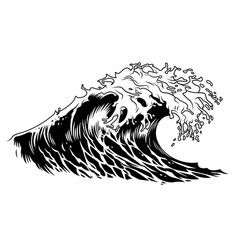 Monochrome big ocean wave concept vector