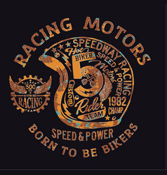 Motorcycle vintage racing team helmet vector