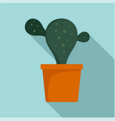 natural cactus pot icon flat style vector image
