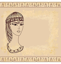Old paper with Egyptian queen cleopatra vector