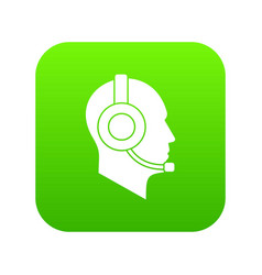 operator in headset icon digital green vector image
