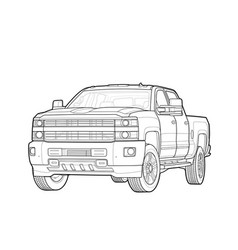 pickup truck draw isolated on white vector image