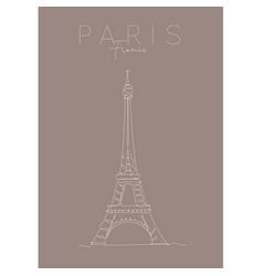 poster paris eiffel tower brown vector image