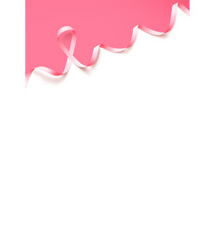 Poster template with realistic pink ribbon symbol vector