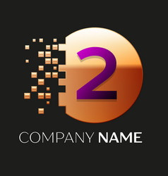 Purple number two logo in the golden pixel circle vector