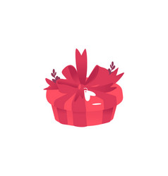 red round gift box with large bow ribbon and vector image