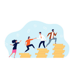revenue growth people climb on coins mutual vector image
