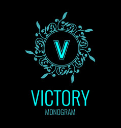 round emblem with the letter v on black background vector image