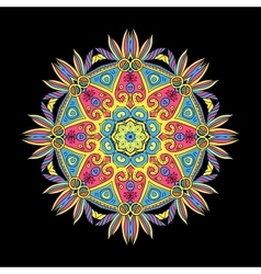 Round Mandala Color Dark 5 vector image