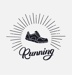 running hand written lettering with running shoes vector image