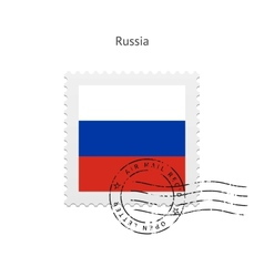Russia Flag Postage Stamp vector image
