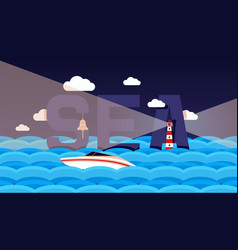 sea text boat in brine ocean surface night vector image