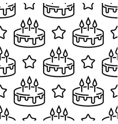 Seamless birthday cake pattern line cakes with vector