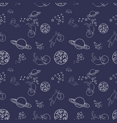 Seamless pattern with cats in space vector