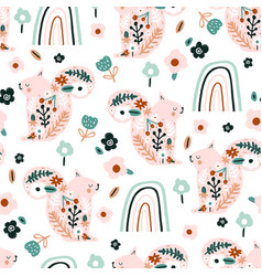 seamless pattern with flowers squirrels rainbows vector image