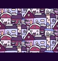 Seamless pattern with winter doodle houses for vector