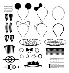 set black icons hair accessories vector image