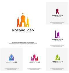Set islamic logo design mosque logo template vector