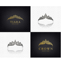 set lace luxury crown logos queen vector image