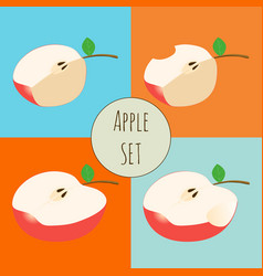 Set of apple sliced half of apple vector