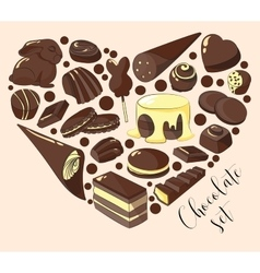 Set of chocolate vector image