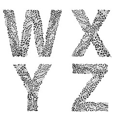 set of letters w x y and vector image