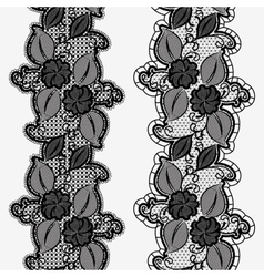 Set of seamless floral lace ribbons Vertical vector