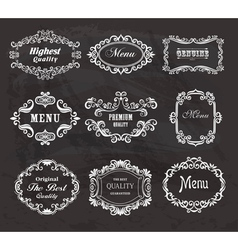 Set of vintage frames on the chalkboard vector